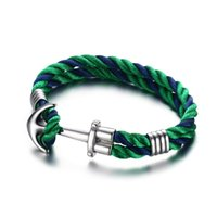 Wholesale Sailor Bracelets Wholesale - Wholesale-Men's Woman's Nylon Ropes Bracelet Nautical Style Sea Sailor Stainless Steel Anchor Bangle Cuff Wristband with Green Black