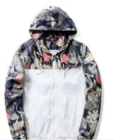 Wholesale Man Front Panel - GUEQI Fashion Hooded Print Floral Bomber Jacket Front-Zip Men's Windbreakers Loose Casual Lightweight Breathable ape Jacket