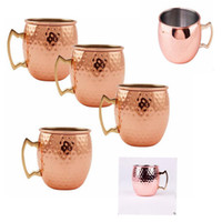 Wholesale Wholesale Copper Cup - Moscow Mule Copper Plated Mug Cup Stainless Steel Hammered Copper Mug Drum Cocktail Drink Cups 50PCS KKA1642