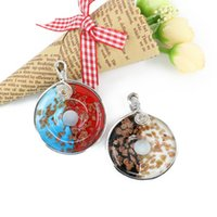 Wholesale Lampwork Dichroic - New Design Lampwork Necklace Pendant Dichroic Flat Round With Metal Edge Made By Hand 12pcs   box MC0003