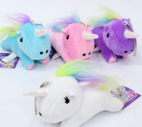 Wholesale teddy pendant chain - Kawaii Cute Unicorn Plush Pendant Toys Soft Stuffed Animal Dolls with Key Chain Kids Toys Gifts rainbow Unicorn Pendant keyring