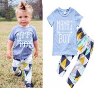 Wholesale Boys 18 Months Vest - INS NWT 2017 Baby boy Kids Summer clothes clothing 2piece set cotton outfits Short Sleeve Shirt Tops Vest + Pants Legging - Mama's Boy