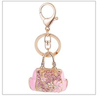Wholesale Metal Heart Ornaments - Fashion Jewelry Exquisite Enamel Handbag Car Keychain Bag Pendant Key Ring Classic Crystal Rhinestone Key Chain Ornaments Creative Gift