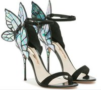 Wholesale Purple Dressed Sandals - 2017 New Arriva Sophia Webst peep-toe sandals Butterfly Wings Chiara Purple Teal High Heels Woman pumps SIZE 35-42 DHL free shipping