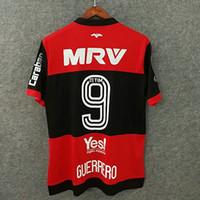 Wholesale Custom Fonts - Perfect 17 18 full sponsor CR flamengo soccer jerseys retron font custom name number GUERRERO 9 football shirts libertadores conmebol 1