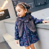 Wholesale Toddler Fur Dresses - Toddler kids princess outfits Baby girls floral velvet warm dress+bows ribbon fur shawl 2pcs sets Autumn Winter Infants clothing C2408