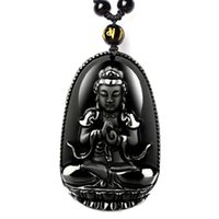 Wholesale Obsidian Necklace For Men - 2017 hot sale Necklaces Unique Natural Black Obsidian Carved Buddha Lucky Amulet Pendant For Women Men necklace Jade Jewelry