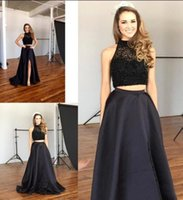 Wholesale Two Split Skirts - Fashion Two Pieces Prom Dresses Halter Beaded Top Satin Skirt A Line Long Formal Party Dresses Hot Black Split Evening Gowns