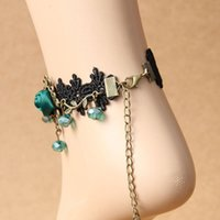 Wholesale Girls Lace Anklets - Vogue Gothic Foot Jewelry Black Lace Pearled Ankle Bracelet Ladies Barefoot Sandals Accessories Anklet Chain Prom Party Lolita Decor