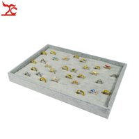 Wholesale Retail Jewelry Display Case - Retail High Quality Grey Velvet Jewelry Ring Organizer Display Cases 110 Slot Ring Storage Holder Tray 35*24*3cm