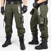 homens calças casuais militares venda por atacado-Calças de CARGA DOS homens CALÇAS MILITARES CALÇAS TÁTICAS Exército Verde E Preto Roupas de Combate Para Homens