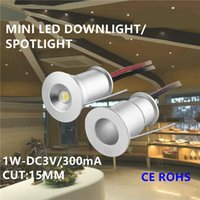 Wholesale Mini Spotlights Cabinet - 9pcs 1W cabinet mini led spotlight small led spot light 1W ceiling spot light 30 120 degree15mm cutout DC3V 300mA input led furniture light