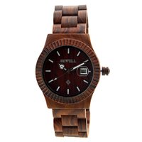 Wholesale Thin Waterproof Watches For Men - 2017 Wooden Wood Date Wrist Thin Watch For Men Red Sandal Waterproof Gift With luminous on Sale