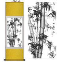 çinli ağaç sanatı toptan satış-Bambu Boyama Ev Ofis Dekorasyon Çin kaydırma boyama çam ağaçları, siyah beyaz bambu Duvar Sanatı Kaydırma Asmak Resim