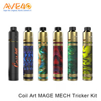 Wholesale Art Original Wholesales - Original CoilArt Mage Mech Tricker Kit Airflow Tank 18650 Mechanical Mod 24K Gold Plated Deck Coil Art Kit Vs Smok Vape pen 22