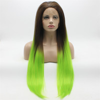 Iwona Hair Straight Extra Long Dark Dark Green Ombre Wig 22 # 4/2605 Half Hand Tied Resistente ao calor Sintético Lace Front Wigs