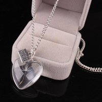 Wholesale Heart Shaped Glass Pendants - 6 Styles Antique Silver Color Natural Real Dandelion Wish Crystal Necklace Glass Double Face Heart Shaped Pentagonal Round Pendant Necklace