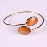 Wholesale Red Carnelian Beads - Purple Amethyst Crystal Clear Rose Quartz Turquoise Bangles Natural Facet Oval Stones Carnelian Beads Gold Plated Bangle Femme Jewelry Mujer