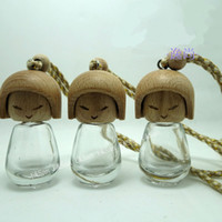 Wholesale Wholesale Perfume Bottles Wood - 8ML transparent cute doll car ornaments glass perfume bottles with wood cap wholesale free shipping WA2485