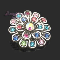 Wholesale metal snap flower buttons for sale - Group buy High quality flower W205 mm mm rhinestone metal button for snap button Bracelet Necklace Jewelry For Women Silver jewelry