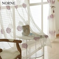 Wholesale Embroidered Sheer Curtains - NORNE Embroidered Semi White Voiles Tulle Sheer Curtains for Living Room Kitchen Door Window Curtain Drape Treatment for Bedroom