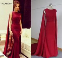 Wholesale Saudi Arabic Muslim Evening Dress With Long Cape Wine Red Chiffon Formal Wear Sheath Celebrity Party Gowns Caftan
