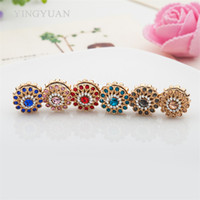 Wholesale Hijab China Brooch - XT58 12pcs lot wholesale flower magnet broches fashion brooches for women Round Inlay rhinestones Elegant libelula hijab accessories