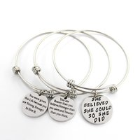 Wholesale Brave Jewelry - Best selling bangles jewelry Inspirational lettering pendant bangles you are braver than you believe bangles free shipping