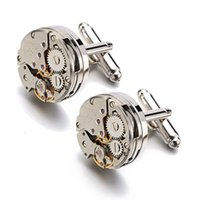 Wholesale Mens Clip Watches - Lepton Watch Movement Cufflinks for immovable Stainless Steel Steampunk Gear Watch Mechanism Cuff links for Mens Relojes gemelos