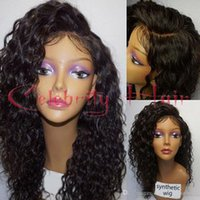 Wholesale African American Black Curly Wigs - Freeshipping synthetic lace front wig heat resistant kinky havana curly african american woman twist 12-26inch combs and straps
