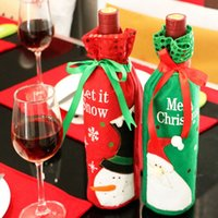 Wholesale Wine Bottles Wholesale Free Shipping - Red Wine Bottle Bags Christmas Decorations Gift Party Best Gift for Xmas Bar Red Wine Bottle Cover Bags DHL Free shipping