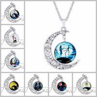 gafas de noche al por mayor-XS Christmas Fright Night Moon Time Glass Necklace colgante para mujer aleación plateó collares joyería al por mayor