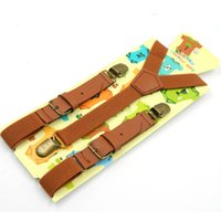 Wholesale Unisex Fashion Suspenders Braces - Wholesale-Kids leather suspenders fashion baby braces Strong 3Clips Trousers Suspensorio Elastic Strap size 2.5*70cm Free shipping