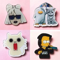 Vente en gros - Japon Harajuku Caricature Broches en acrylique Pin badge fille singe canard ours chat animal Charm Fruit icon broche broche BR0004