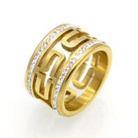 ingrosso croce di cristallo in acciaio inossidabile-2 file di fila Trasparente Anello di cristallo con croce vuota per gioielli da donna Anelli di fidanzamento in acciaio inossidabile