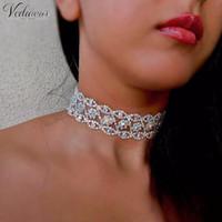 Wholesale Chunky Choker Jewellery - luxury AB Rhinestone Choker 2017 Statement Necklace Women Maxi Crystal Chocker Chunky Necklace Collier Bride Jewellery 1456