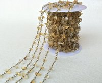 Wholesale Citrine Beads European - Natural Stone yellow Crystal Citrine Chips Jewelry Finding Necklace Chains,Gold Color DIY necklace bangle jewelry making LZ30