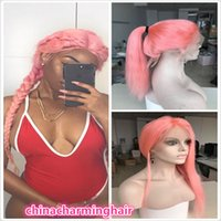 Wholesale Long Straight Silky Blonde Hair - brazilian virgin hair lace front wigs Long pink human hair wigs for black women full lace pink hair wig