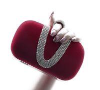 Wholesale Wedding Rings Velvet Bags - 2017 Top selling Fashion Female Diamond U Shape Diamond Ring Velvet Evening Bag Luxury Finger Clutch Purse Wedding Party Bag With Chain