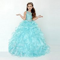 Wholesale Stylish Dresses For Girls - Stylish Ruffled Ball Gown Girls Pageant Dresses For Teens Beaded Lace-up Flower Girl Dress Sweep Train Lace Appliques First Communion Gowns