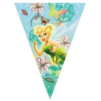 Wholesale Hanging Flag Pennant - Wholesale-10pcs line hanging banners Girls Birthday party decoration supplies birthday party banner flag pirates fairy paper pennant 2.6m