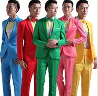 Wholesale Theatrical Wedding Dresses - Suit Men New 2017 Long-Sleeved Men's Suits Dress Hosted Theatrical Tuxedos For Men Wedding Prom Red Yellow Blue And Green M L XL