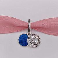Wholesale Enamel Stars - 925 Silver Beads Vintage Night Sky Pendant Charm Fits European Pandora Style Jewelry Bracelets & Necklace 791993CZ blue enamel star gifts