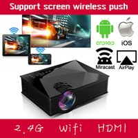 Wholesale Portable Projector For Iphone - Wholesale- Smart 2.4G WIFI Home Business Theater HDMI USB LCD Video Portable Mini 1080p HD LED Projector Proyector For Iphone Android