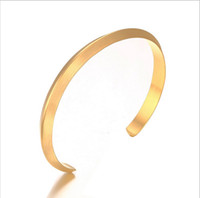 Wholesale Girls Simple Charming Wide Open Round Bracelet for Women Gold Silver Black Plated Cuff Bangles Jewelry to Color B