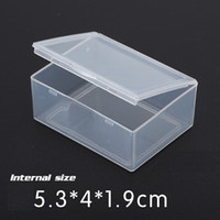 Wholesale Plastic Box Storage For Nails - 5.3*4*1.9CM Mini Hard Square Box Clear Plastic Storage Case for DIY Tool Nail Art Jewelry Accessory beads stones Crafts case container