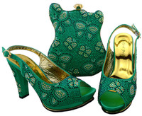 Wholesale wonderful bag for sale - Group buy Wonderful water green african shoes match bag set with rhinestones lady high heel shoew and handbag for dress BCH heel CM