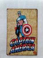 Wholesale Coffee America - Captain America Superhero Vintage home Bar Pub Hotel Restaurant Coffee Shop home Decorative Metal Retro Tin Sign