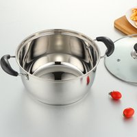 Wholesale Induction Cooker Set - Cookware Set Family Stock Pots Quality Stainless Steel 18cm 20cm 22cm Stock Pots Apply to Induction Cooker Stove Glass Cover 2 Shapes Supply