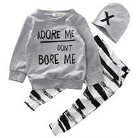 ropa de cebra para niño de niños al por mayor-Niños ropa de otoño ropa de bebé conjuntos Bebé recién nacido Niño Camiseta de manga larga + cebra Pant Hat 3 piezas Conjunto de trajes